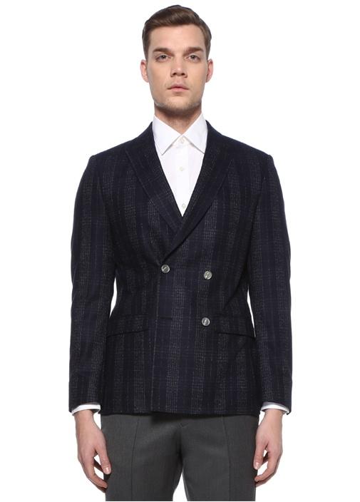 Lacivert Kırlangıç Yaka Yün Kruvaze Blazer Ceket