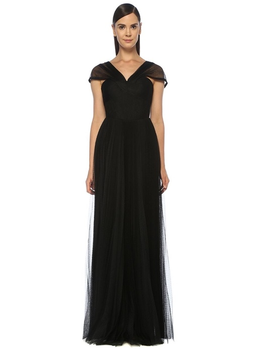 Luciana Siyah Asimetrik Askılı Maksi Abiye Elbise