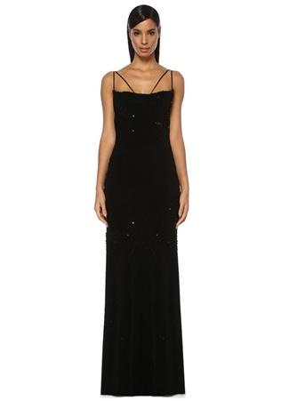 Maria Lucia Hohan Kadın Louisa Siyah Kadife İşlemeli Maksi Abiye Elbise 38 FR female