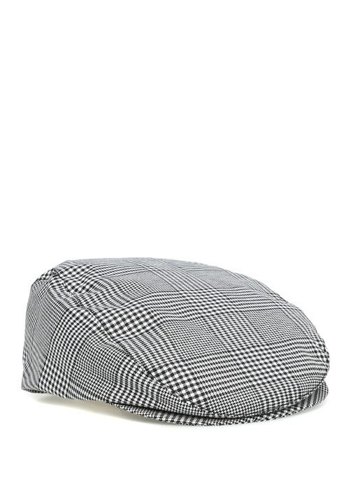 Siyah Beyaz Kazayağı Desenli Erkek Şapka