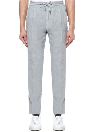 Gri Normal Bel Boru Paça Keten Pantolon