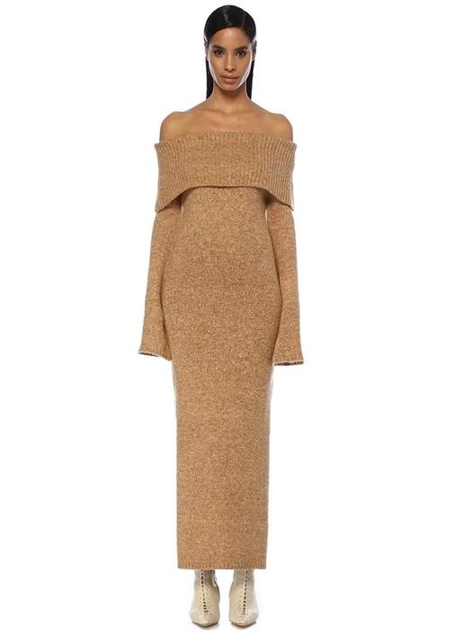 Mariel Gold Düşük Omuzlu Maksi Triko Elbise