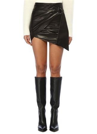 IRO Kadın Dybal Siyah Asimetrik Drapeli Mini DeriEtek 36 FR