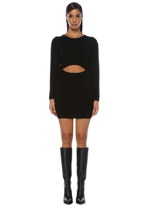 Devlin Siyah Kesim Detaylı Mini Yün Elbise