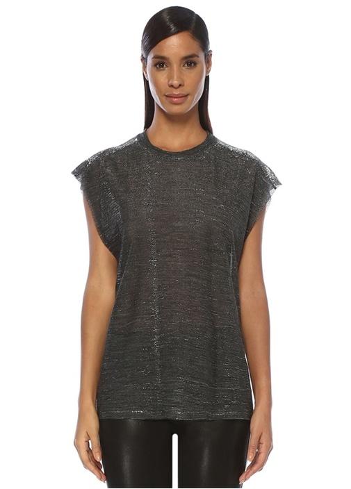 Redoak Siyah Parlak Dokulu Kısa Kol T-shirt