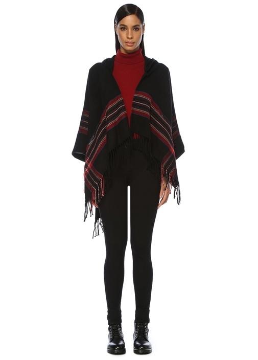Siyah Kırmızı Kapüşonlu Ekoseli Püsküllü Panço