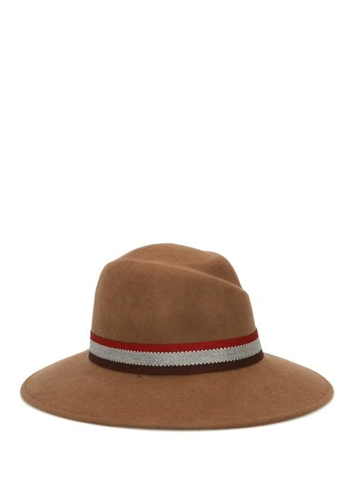Kamel Bant Detaylı Kadın Yün Şapka