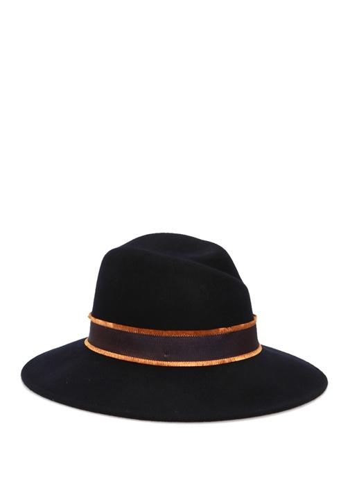 Lacivert Bant Detaylı Kadın Yün Şapka