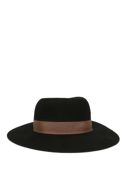 Siyah Bant Detaylı Kadın Yün Şapka