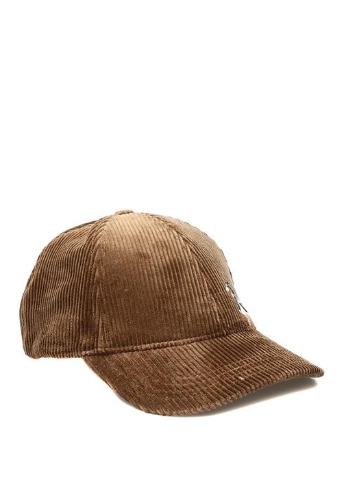Kahverengi Kaz Nakışlı Kadın Kadife Şapka
