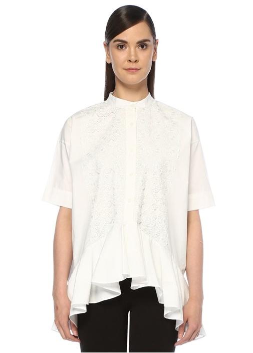 Beyaz Dantel Garnili Volanlı Kısa Kol Gömlek