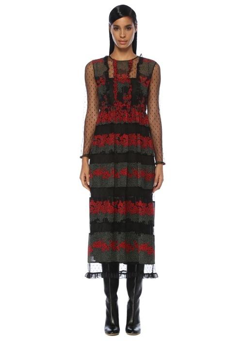 Siyah Kırmızı Çiçekli Uzun Kol Midi Tül Elbise