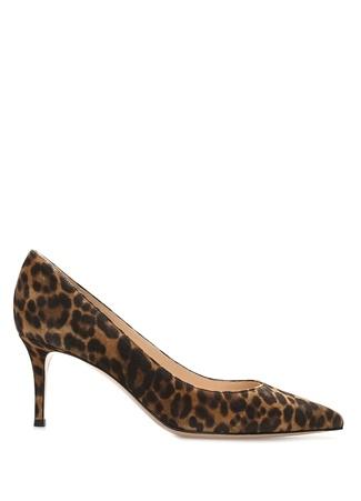 Kadın Leopar Desenli Deri Topuklu Ayakkabı Kahverengi 37.5 EU
