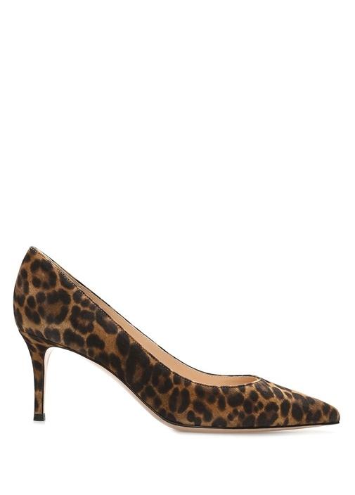 Leopar Desenli Deri Topuklu Ayakkabı