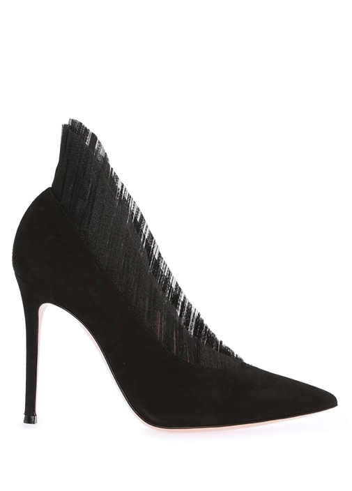 Siyah Plise Garnili Deri Gece Ayakkabısı