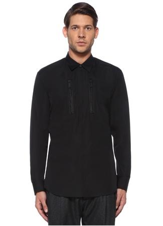 Siyah İngiliz Yaka Fermuar Detaylı Gömlek