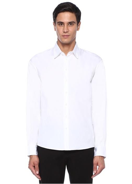Beyaz Baskılı İngiliz Yaka Gömlek
