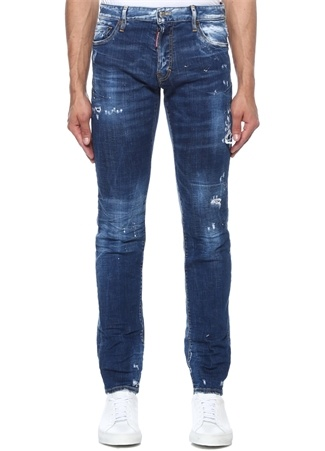 Slim Fit Lacivert Yıpratmalı Logolu Jean Pantolon
