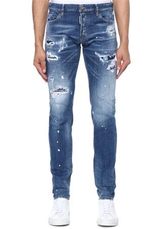 Dsquared2 Erkek Slim Fit Lacivert Yıpratmalı Logolu Jean Pantolon Mavi 46 IT male