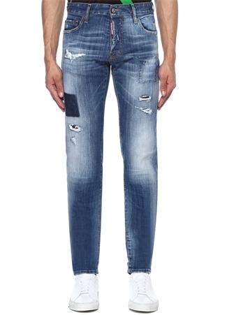 Dsquared2 Erkek Slim Mavi Logolu Yıpratmalı Jean Pantolon 50 IT male