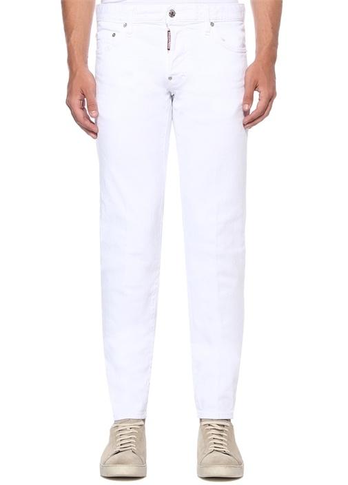 Slim Fit Beyaz Logo Baskılı Jean Pantolon