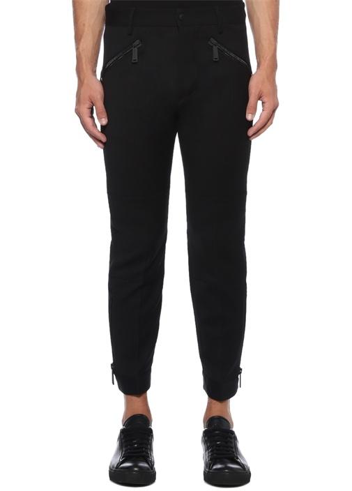 Siyah Yüksek Bel Paçaları Fermuarlı Pantolon
