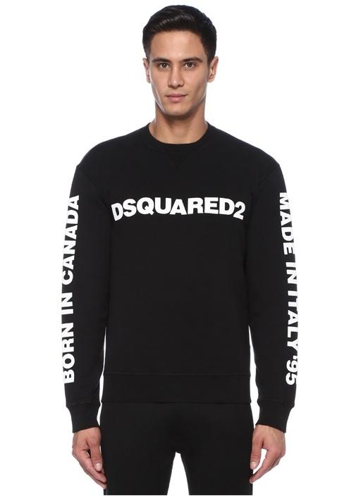 Siyah Kabartmalı Logolu Sweatshirt