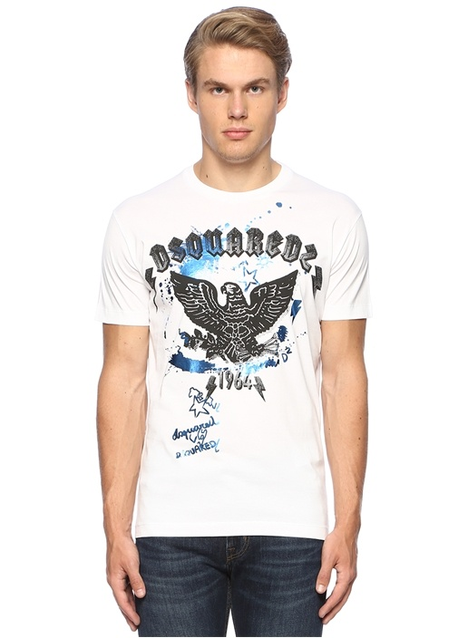Beyaz Figür Baskılı Metalik Renk Detaylı T-shirt