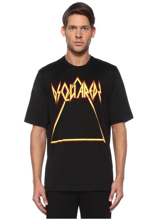 Siyah Kırmızı Logo Baskılı Basic T-shirt