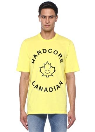 Sarı Bisiklet Yaka Kontrast Yazı Baskılı T-shirt