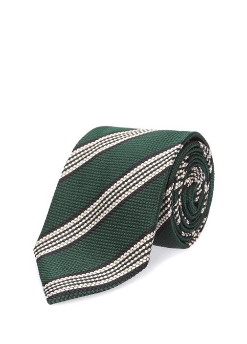 Haki Verev Çizgili İpek Kravat