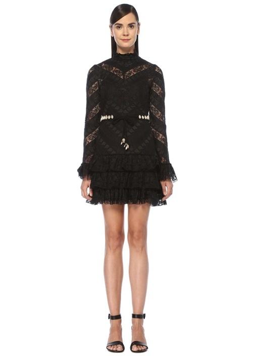 Veneto Siyah Deniz Kabuklu Mini Dantel Elbise