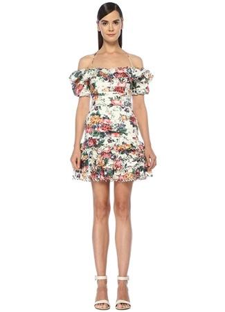 Zimmermann Kadın Allia Beyaz Omzu Açık Çiçekli Mini Keten Elbise 3 US