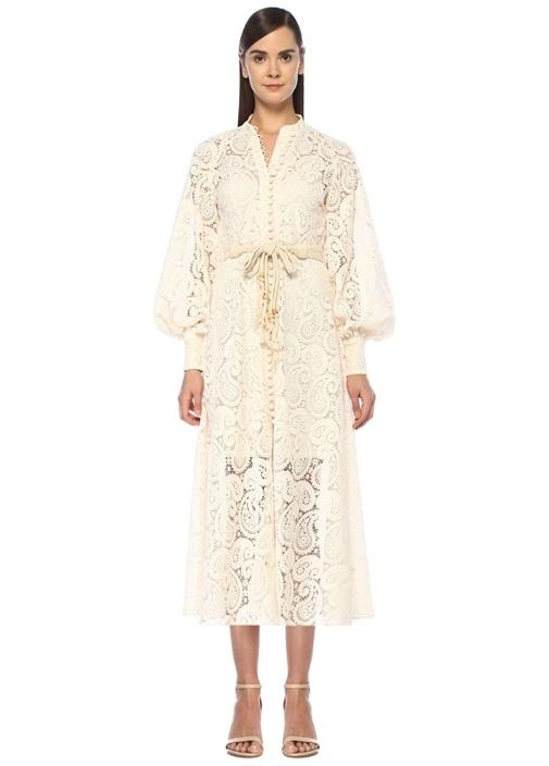 Amari Ekru Şal Desenli Kuşaklı Midi Dantel Elbise