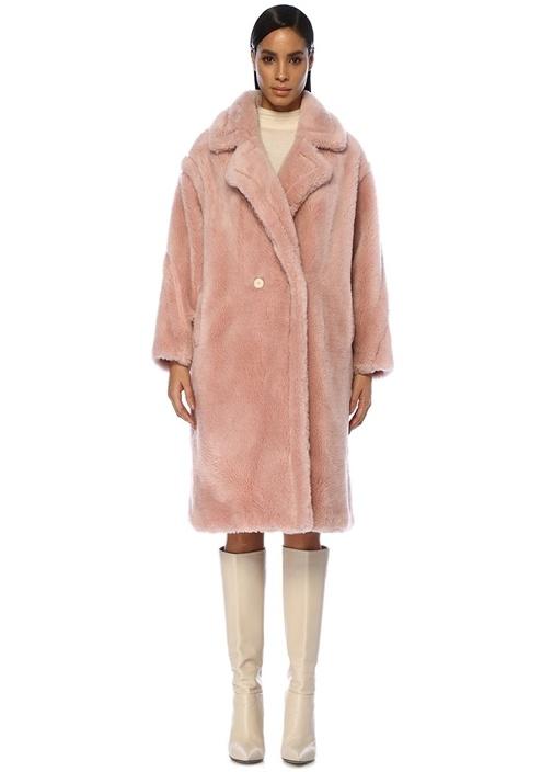 Pembe Kelebek Yaka Yün Palto
