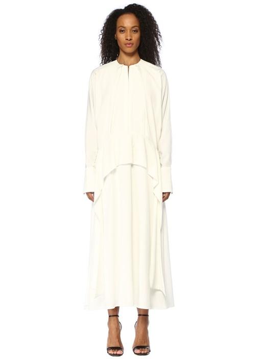Oversize Ekru Drapeli Midi Krep Saten Elbise