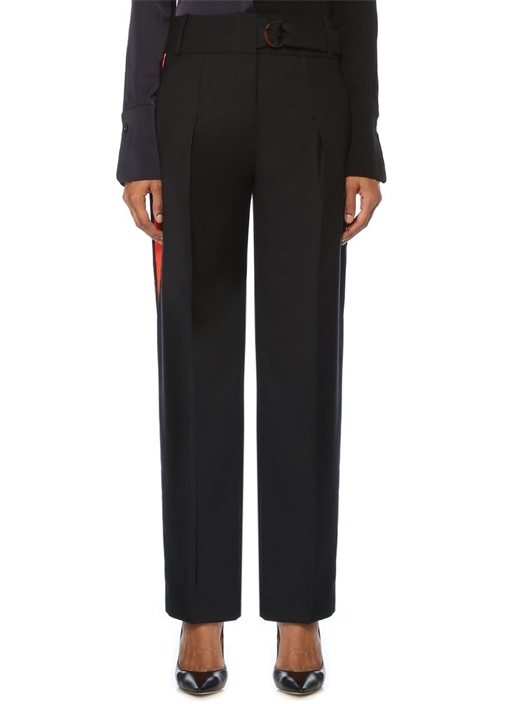 Relaxed Fit Lacivert Kırmızı Şeritli Pantolon