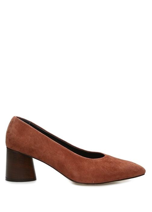 Kiremit Süet Topuklu Ayakkabı