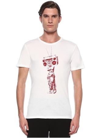 Beyaz Kırmızı Figür Baskılı Basic T-shirt