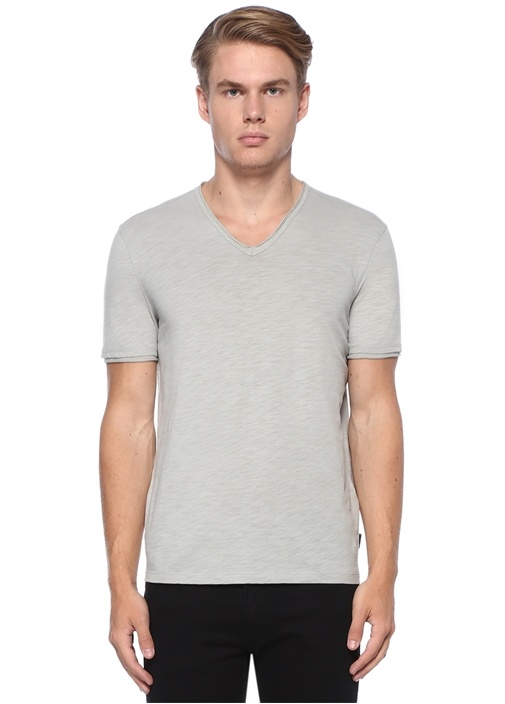 Gri V Yaka Basic T-shirt