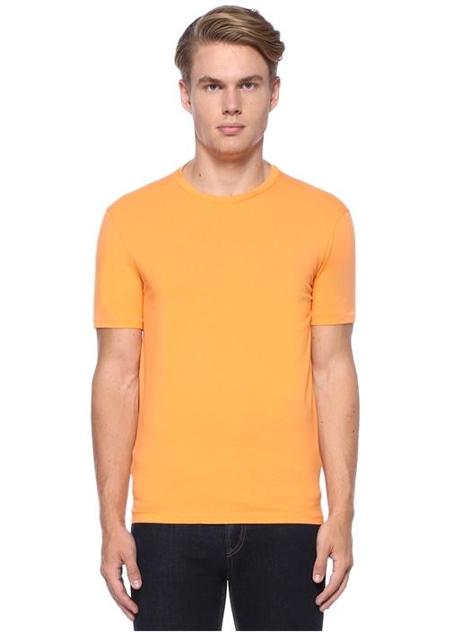 Turuncu Bisiklet Yaka Basic T-shirt