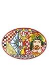 Barok Turuncu Oval Formlu Servis Tabağı
