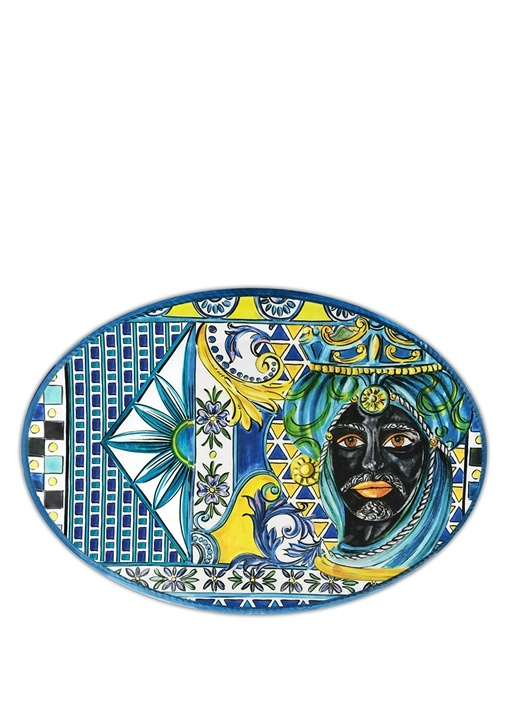 Barok Mavi Oval Formlu Tabak
