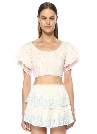 Love Shack Fancy Kadın Christine Pembe Beyaz Puantiyeli Crop Bluz M EU