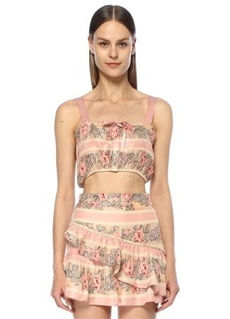 Love Shack Fancy Kadın Casey Pembe Bağcıklı Çiçekli Crop İpek Bluz S EU