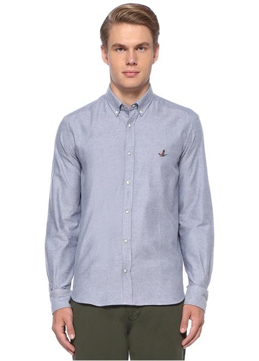 Comfort Fit Lacivert Düğmeli Yaka Gömlek