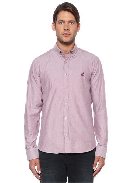 Comfort Fit Bordo Düğmeli Yaka Gömlek