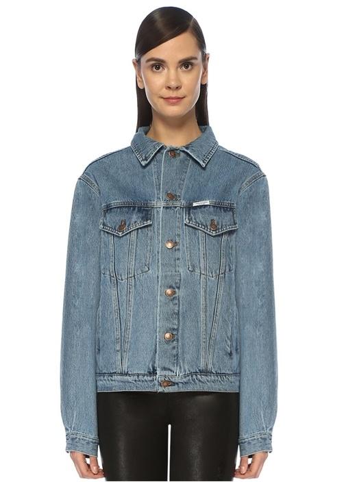 Mavi Arkası Taşlı Logo İşlemeli Denim Ceket