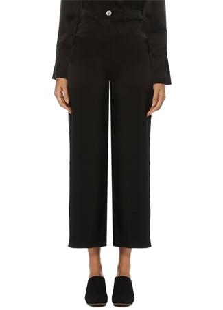 Nanushka Kadın Marfa Siyah Yüksek Bel Bol Paça Saten Pantolon XS EU