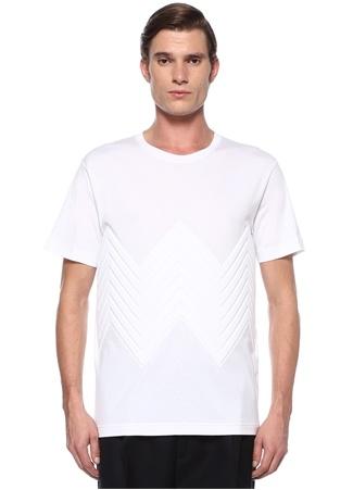 Beyaz Kabartmalı Zikzak Desenli Basic T-shirt